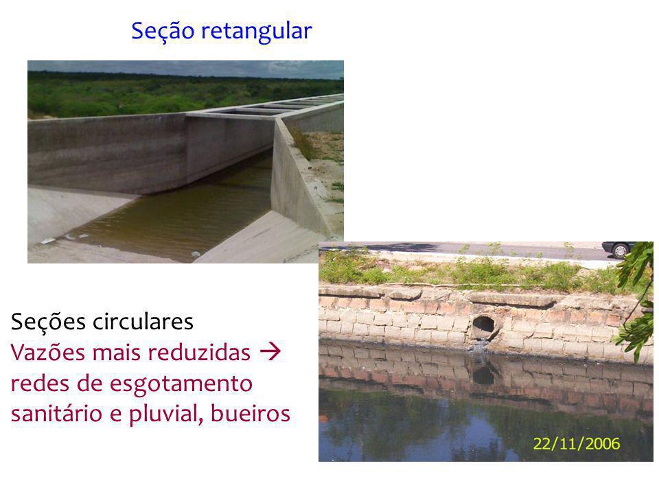 Seções circulares Vazões mais reduzidas redes de esgotamento sanitário e pluvial, bueiros Seção retangular