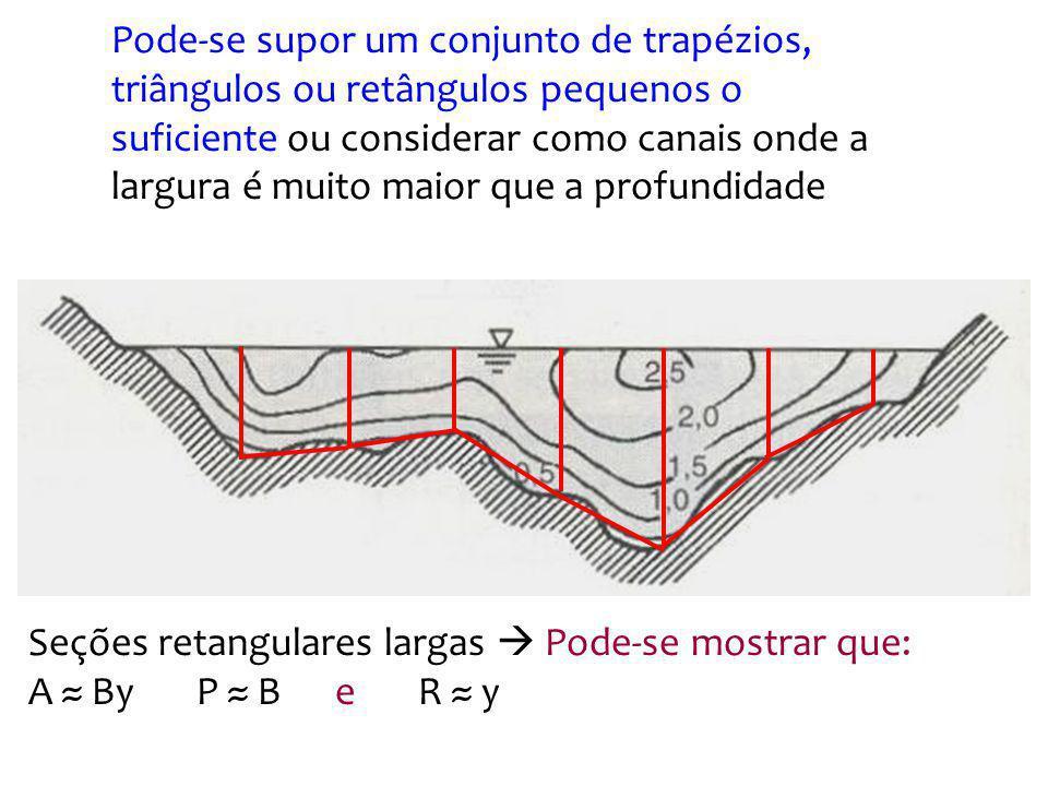 Pode-se supor um conjunto de trapézios, triângulos ou retângulos pequenos o suficiente ou considerar como canais onde a largura é muito maior que a pr
