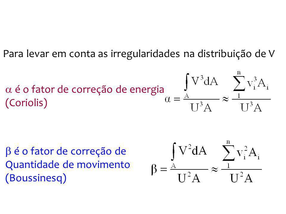 é o fator de correção de energia (Coriolis) Para levar em conta as irregularidades na distribuição de V é o fator de correção de Quantidade de movimen