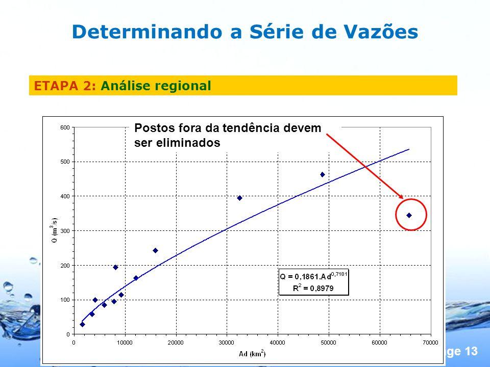 Page 13 Postos fora da tendência devem ser eliminados Determinando a Série de Vazões ETAPA 2: Análise regional