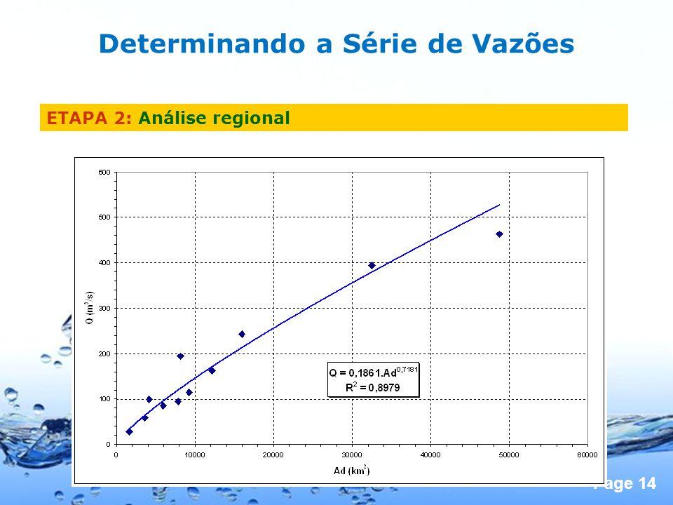 Page 14 Determinando a Série de Vazões ETAPA 2: Análise regional