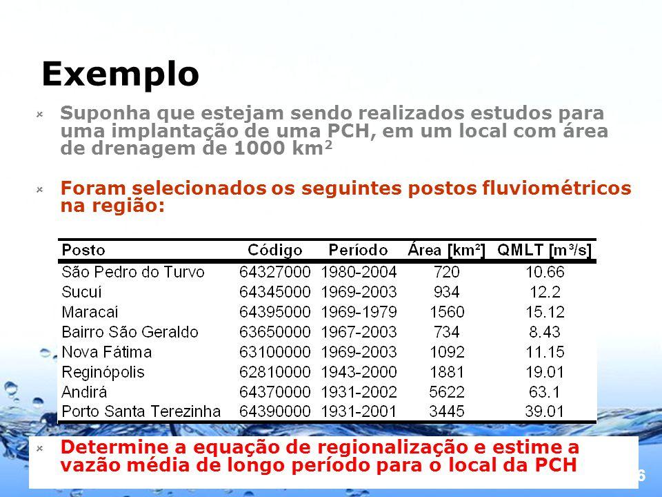 Page 16 Exemplo Suponha que estejam sendo realizados estudos para uma implantação de uma PCH, em um local com área de drenagem de 1000 km 2 Foram selecionados os seguintes postos fluviométricos na região: Determine a equação de regionalização e estime a vazão média de longo período para o local da PCH