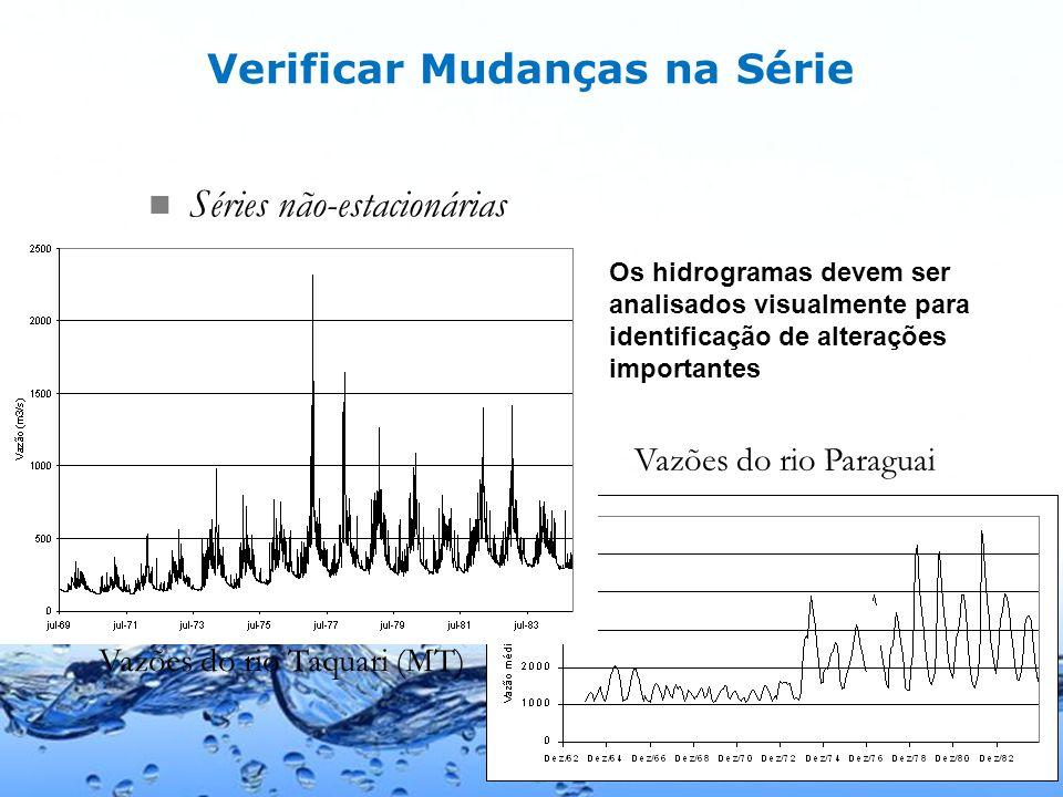 Page 19 Séries não-estacionárias Vazões do rio Taquari (MT) Vazões do rio Paraguai Os hidrogramas devem ser analisados visualmente para identificação de alterações importantes Verificar Mudanças na Série
