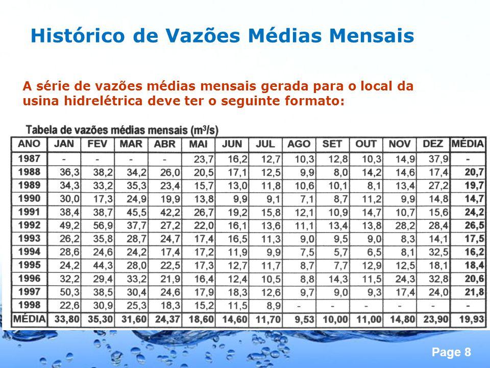 Page 8 Histórico de Vazões Médias Mensais A série de vazões médias mensais gerada para o local da usina hidrelétrica deve ter o seguinte formato: