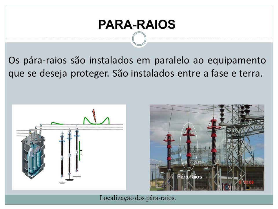 PARA-RAIOS Localização dos pára-raios. I Os pára-raios são instalados em paralelo ao equipamento que se deseja proteger. São instalados entre a fase e