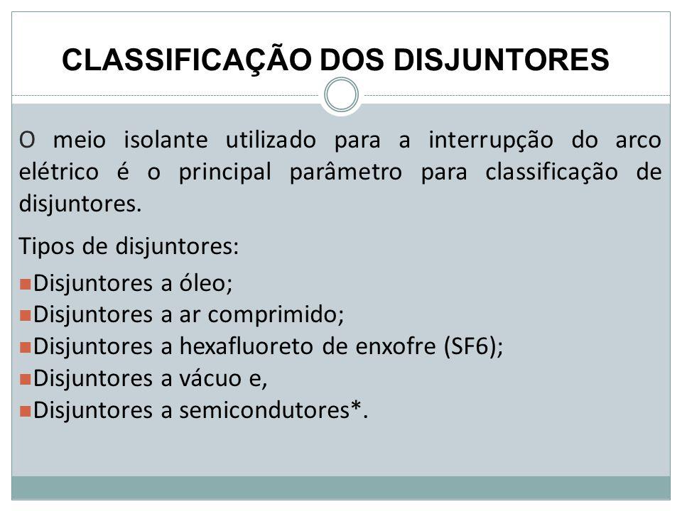 CLASSIFICAÇÃO DOS DISJUNTORES O meio isolante utilizado para a interrupção do arco elétrico é o principal parâmetro para classificação de disjuntores.