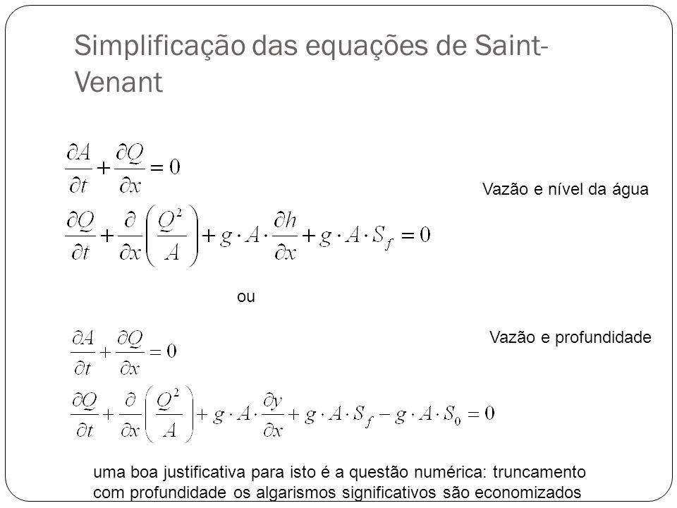 Simplificação das equações de Saint- Venant ou Vazão e nível da água Vazão e profundidade uma boa justificativa para isto é a questão numérica: trunca