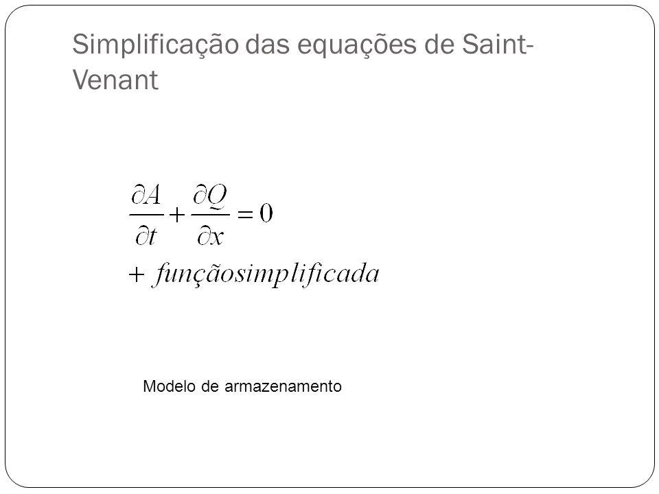 Simplificação das equações de Saint- Venant Modelo de armazenamento
