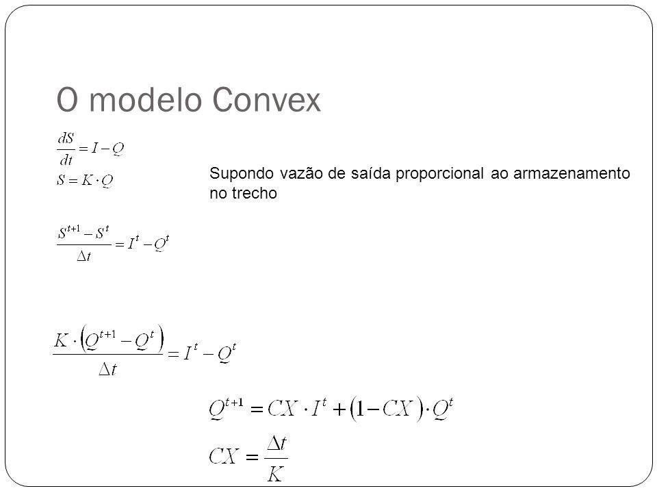 O modelo Convex Supondo vazão de saída proporcional ao armazenamento no trecho