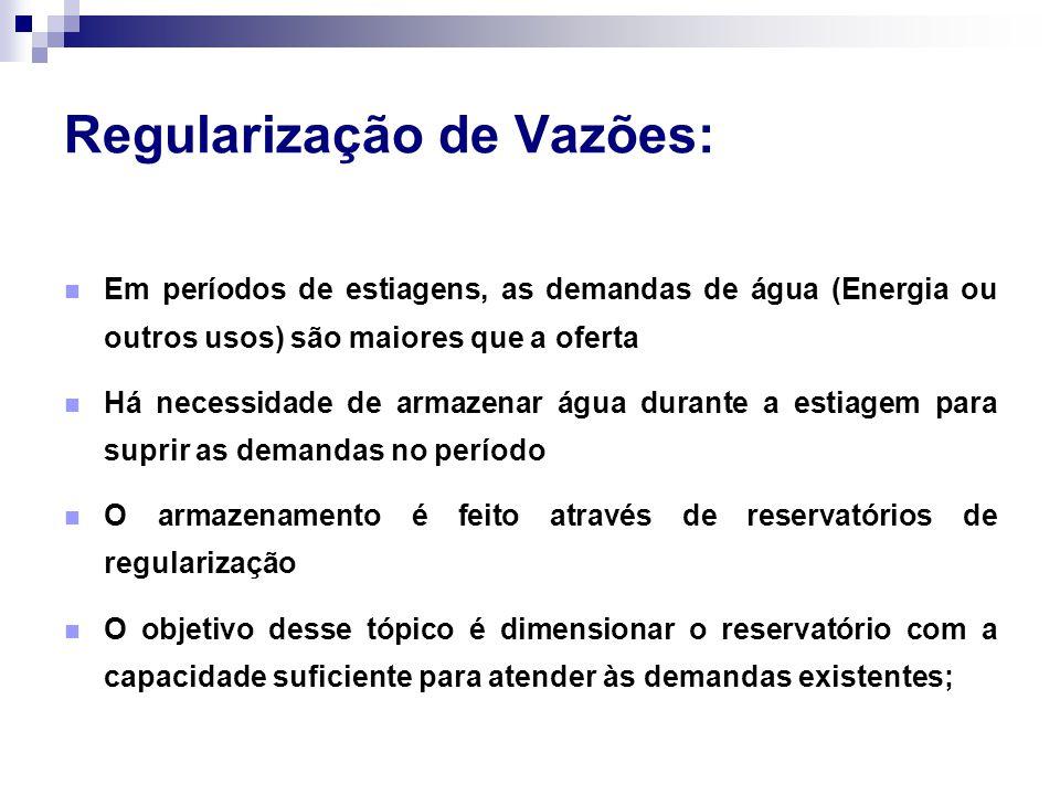 Regularização de Vazões: Em períodos de estiagens, as demandas de água (Energia ou outros usos) são maiores que a oferta Há necessidade de armazenar á