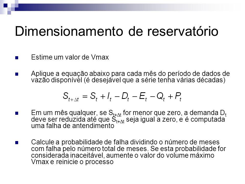 Dimensionamento de reservatório Estime um valor de Vmax Aplique a equação abaixo para cada mês do período de dados de vazão disponível (é desejável qu