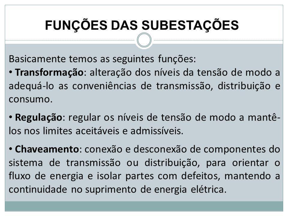 Basicamente temos as seguintes funções: Transformação: alteração dos níveis da tensão de modo a adequá-lo as conveniências de transmissão, distribuiçã