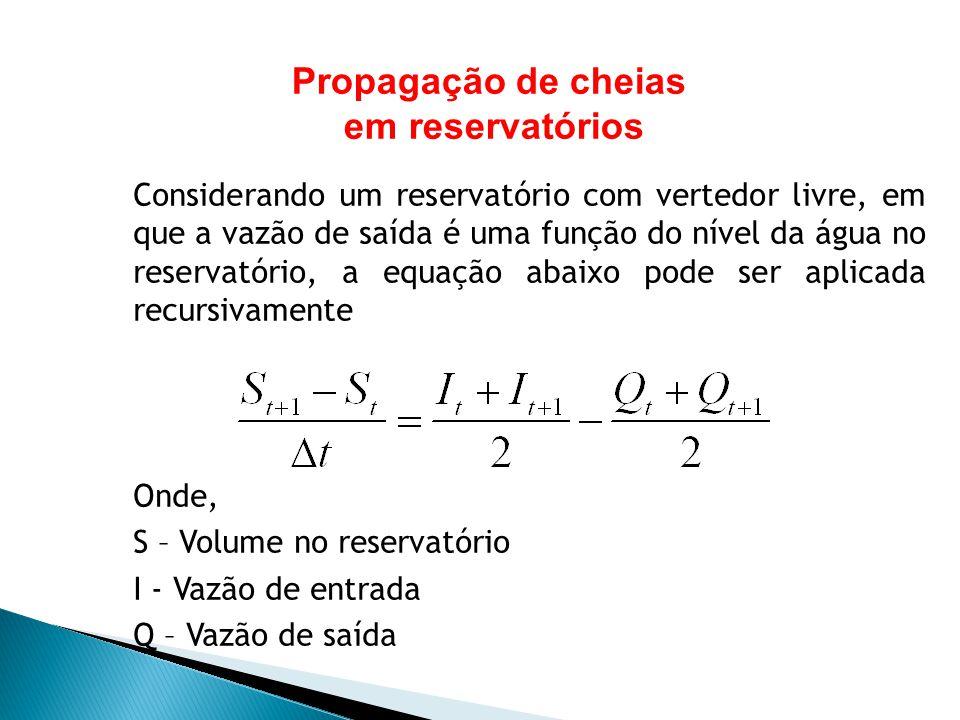 Considerando um reservatório com vertedor livre, em que a vazão de saída é uma função do nível da água no reservatório, a equação abaixo pode ser apli