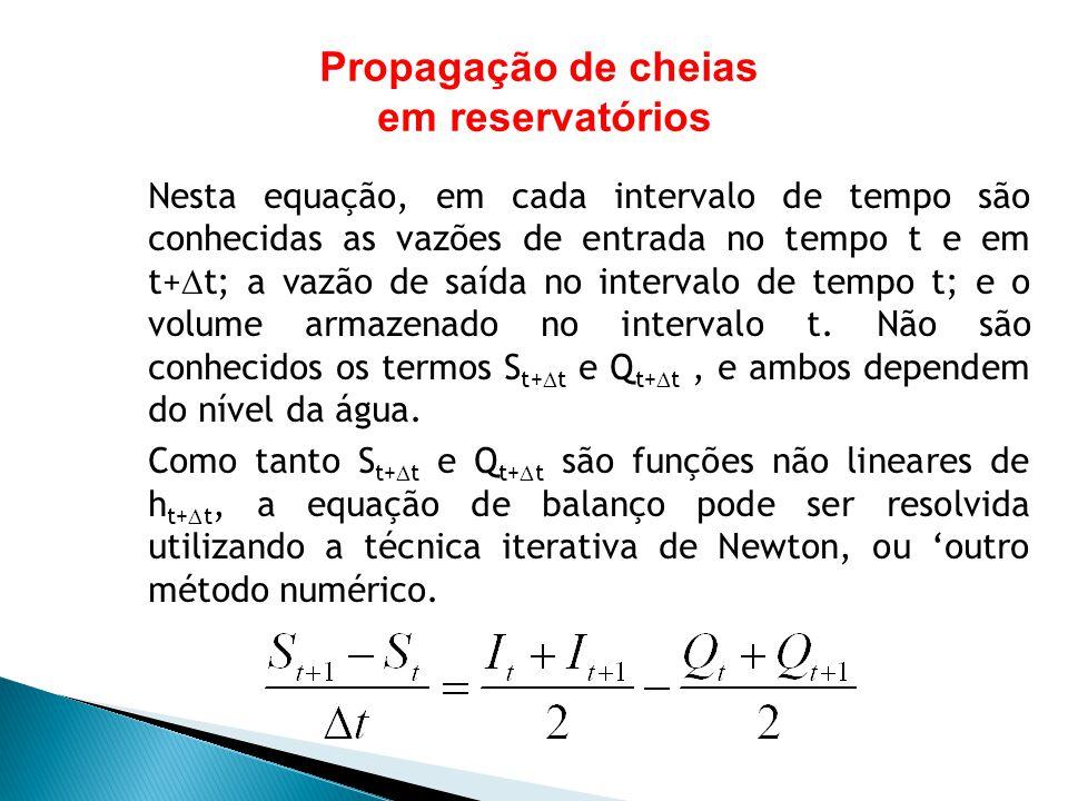 Nesta equação, em cada intervalo de tempo são conhecidas as vazões de entrada no tempo t e em t+ t; a vazão de saída no intervalo de tempo t; e o volu