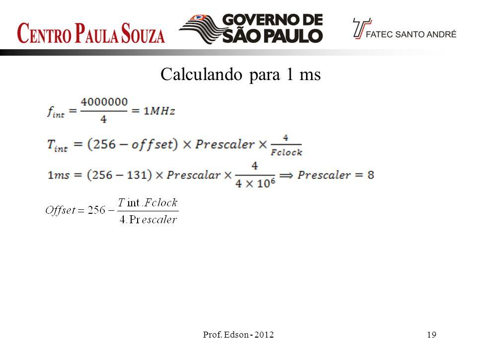 Prof. Edson - 201219 Calculando para 1 ms