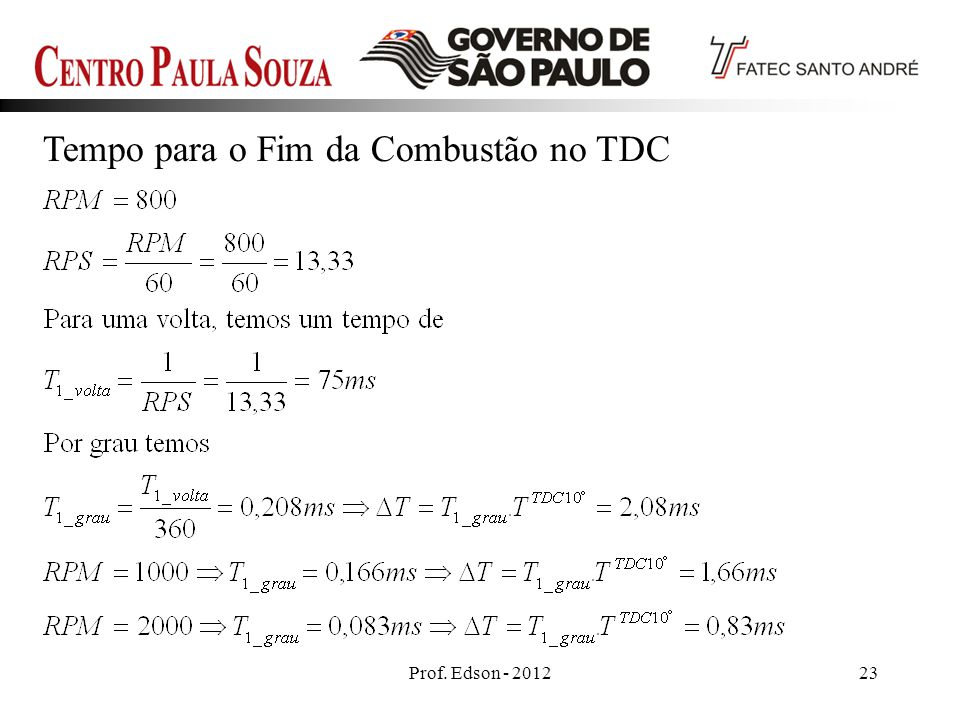 Prof. Edson - 201223 Tempo para o Fim da Combustão no TDC