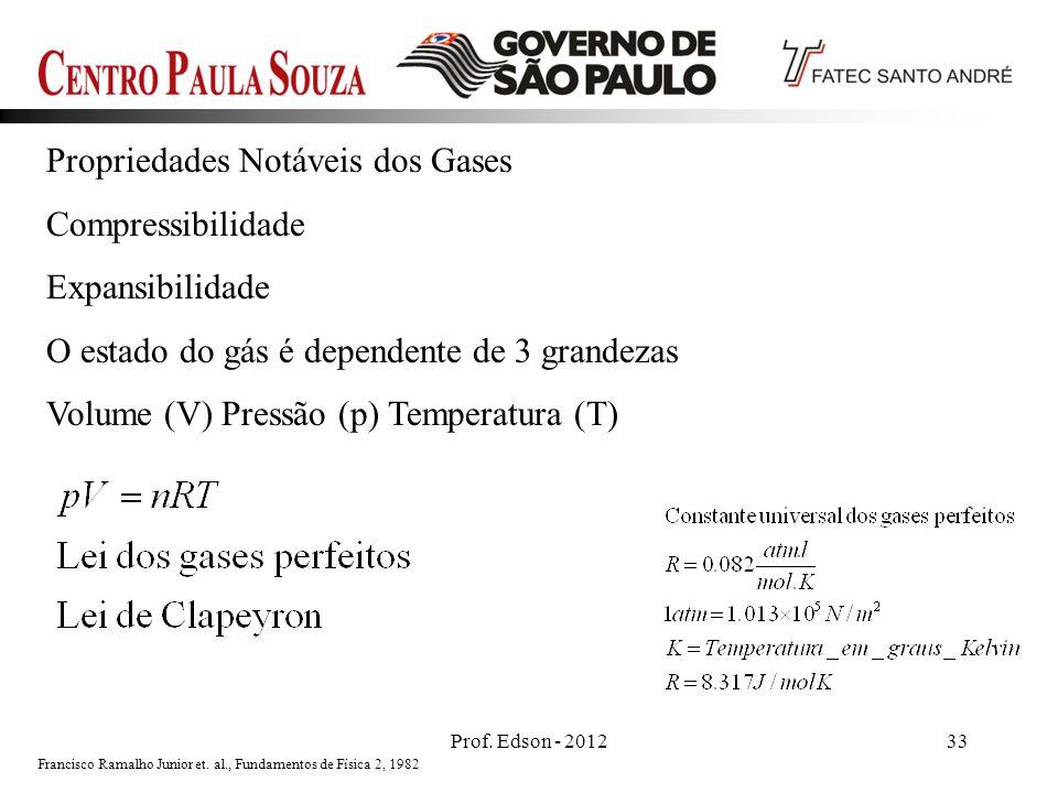 Prof. Edson - 201233 Propriedades Notáveis dos Gases Compressibilidade Expansibilidade O estado do gás é dependente de 3 grandezas Volume (V) Pressão