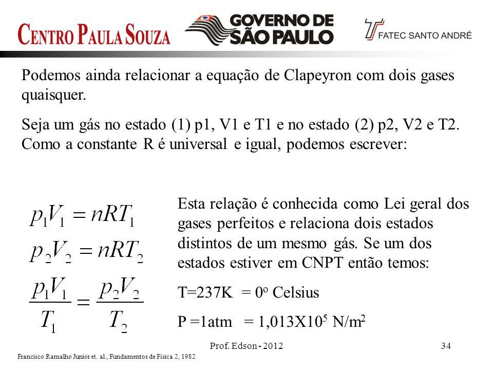 Prof. Edson - 201234 Podemos ainda relacionar a equação de Clapeyron com dois gases quaisquer. Seja um gás no estado (1) p1, V1 e T1 e no estado (2) p