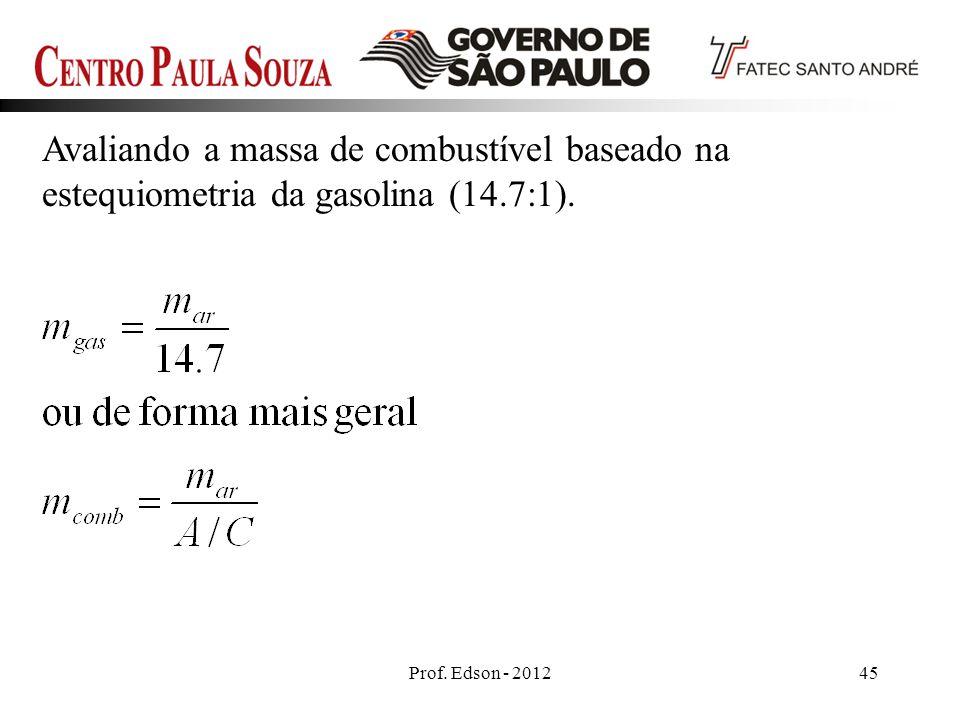 Prof. Edson - 201245 Avaliando a massa de combustível baseado na estequiometria da gasolina (14.7:1).