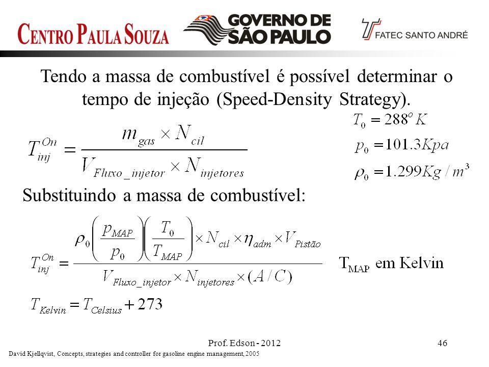 Prof. Edson - 201246 Tendo a massa de combustível é possível determinar o tempo de injeção (Speed-Density Strategy). Substituindo a massa de combustív