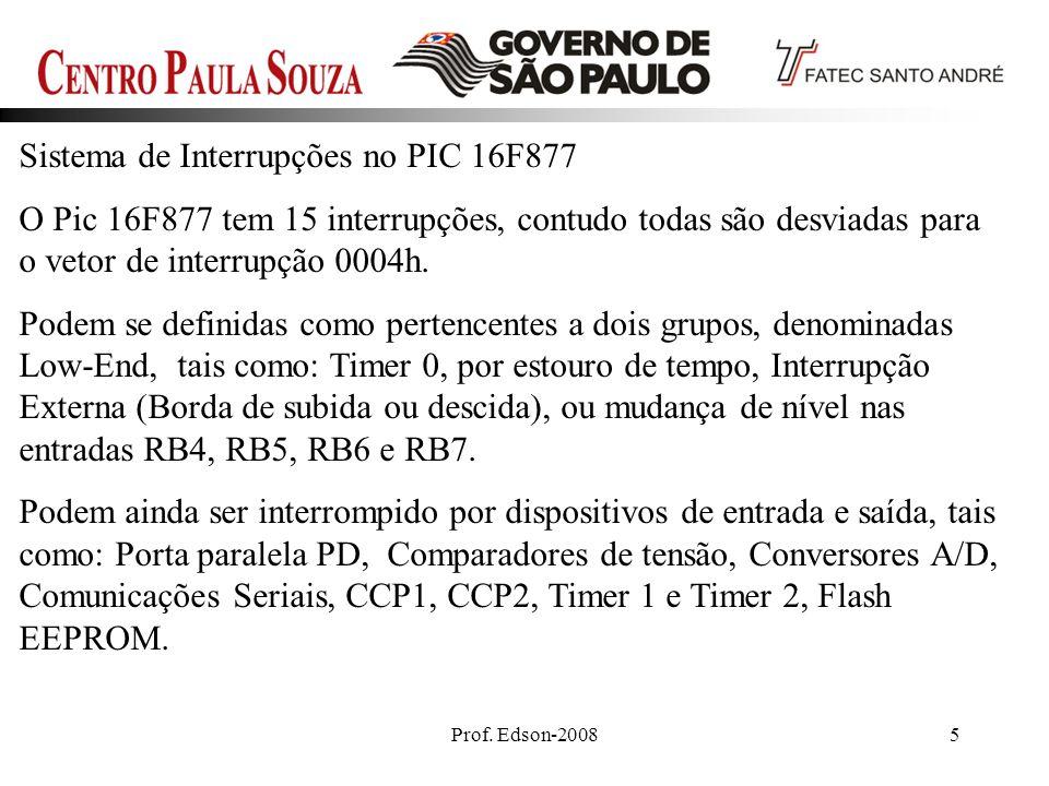 Prof. Edson-20085 Sistema de Interrupções no PIC 16F877 O Pic 16F877 tem 15 interrupções, contudo todas são desviadas para o vetor de interrupção 0004