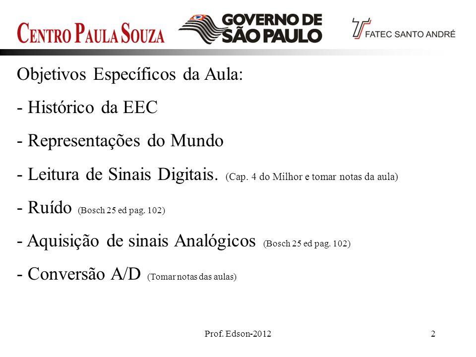 Prof. Edson-20122 Objetivos Específicos da Aula: - Histórico da EEC - Representações do Mundo - Leitura de Sinais Digitais. (Cap. 4 do Milhor e tomar
