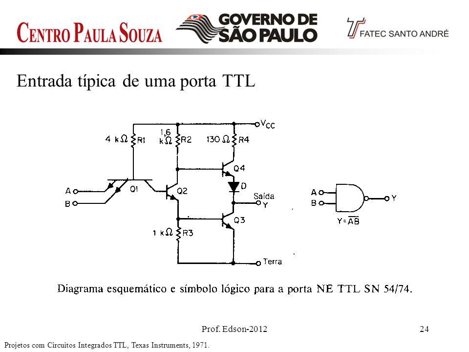 Prof. Edson-201224 Projetos com Circuitos Integrados TTL, Texas Instruments, 1971. Entrada típica de uma porta TTL
