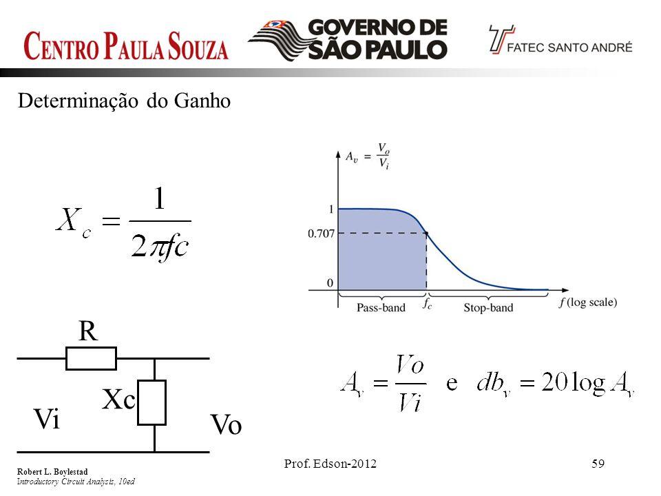 Prof. Edson-201259 Determinação do Ganho R Xc Vi Vo Robert L. Boylestad Introductory Circuit Analysis, 10ed