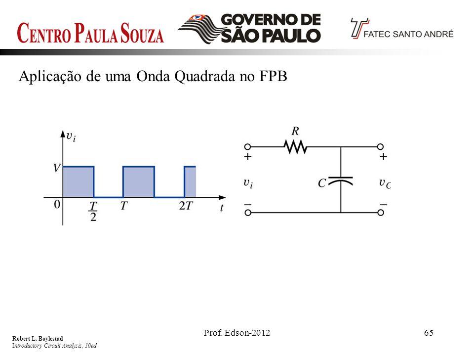 Prof. Edson-201265 Aplicação de uma Onda Quadrada no FPB Robert L. Boylestad Introductory Circuit Analysis, 10ed