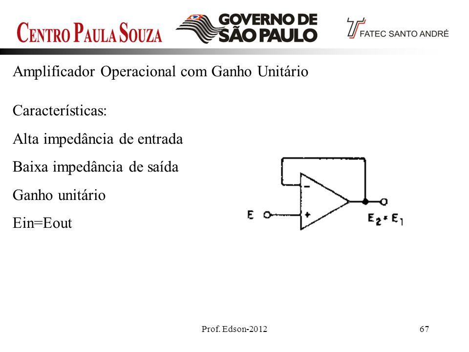 Prof. Edson-201267 Amplificador Operacional com Ganho Unitário Características: Alta impedância de entrada Baixa impedância de saída Ganho unitário Ei