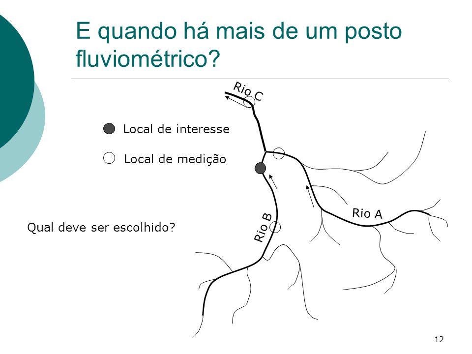 E quando há mais de um posto fluviométrico? 12 Rio C Rio B Rio A Local de interesse Local de medição Qual deve ser escolhido?