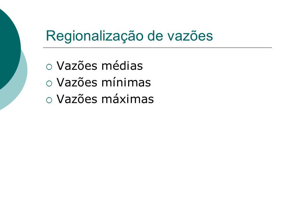 Regionalização de vazões Vazões médias Vazões mínimas Vazões máximas