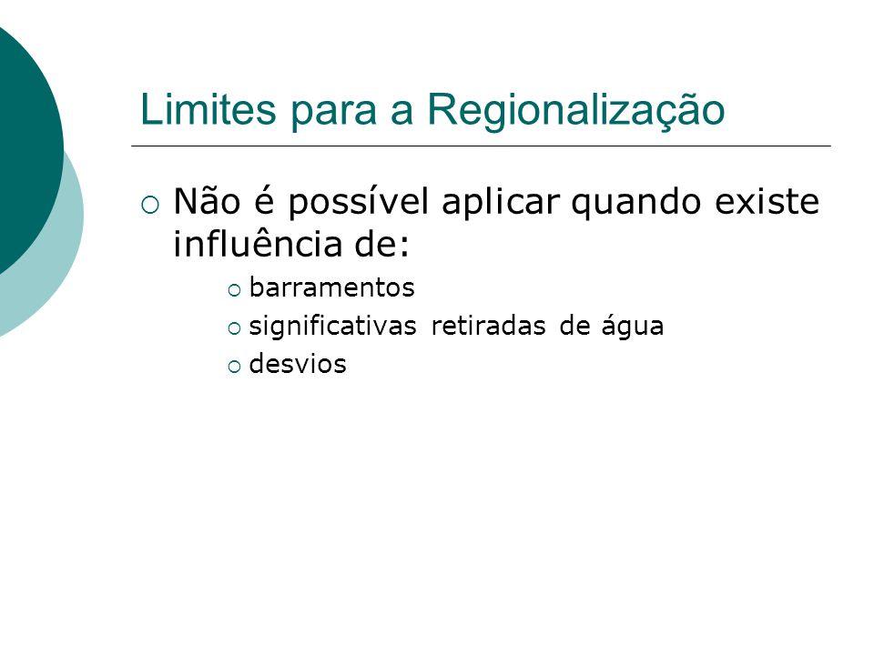 Limites para a Regionalização Não é possível aplicar quando existe influência de: barramentos significativas retiradas de água desvios