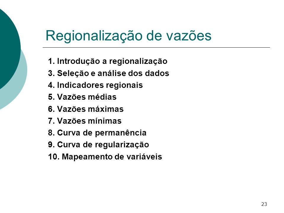 23 Regionalização de vazões 1. Introdução a regionalização 3. Seleção e análise dos dados 4. Indicadores regionais 5. Vazões médias 6. Vazões máximas
