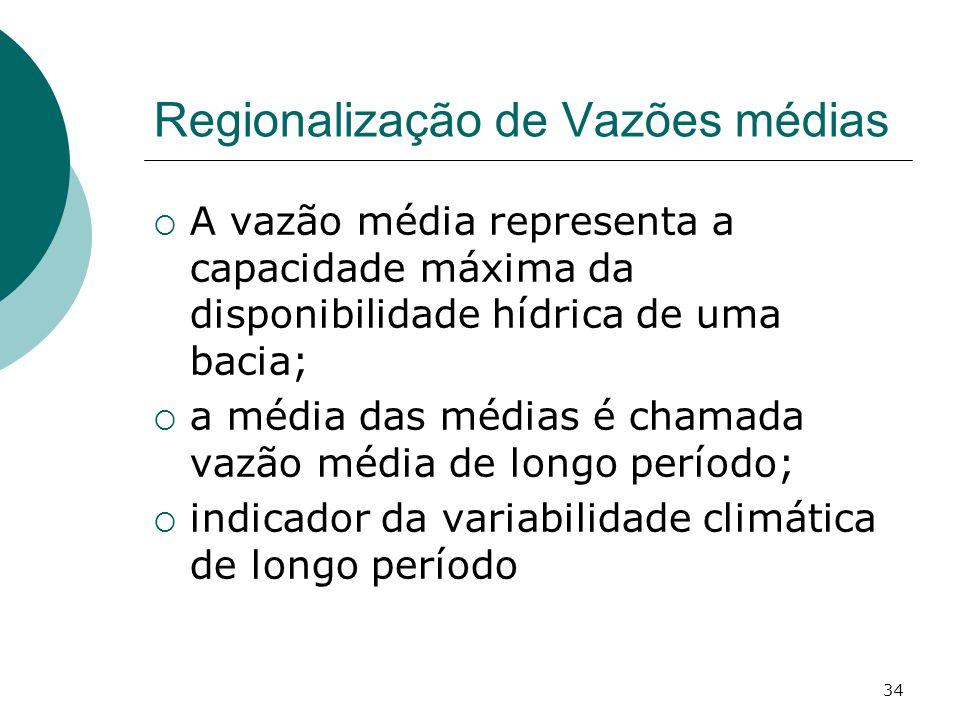 34 Regionalização de Vazões médias A vazão média representa a capacidade máxima da disponibilidade hídrica de uma bacia; a média das médias é chamada vazão média de longo período; indicador da variabilidade climática de longo período