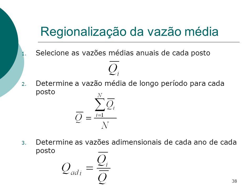 38 Regionalização da vazão média 1. Selecione as vazões médias anuais de cada posto 2. Determine a vazão média de longo período para cada posto 3. Det