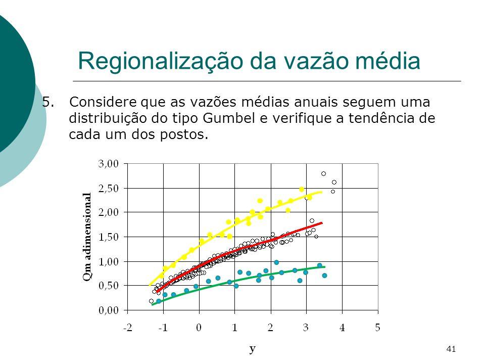 41 Regionalização da vazão média 5. Considere que as vazões médias anuais seguem uma distribuição do tipo Gumbel e verifique a tendência de cada um do