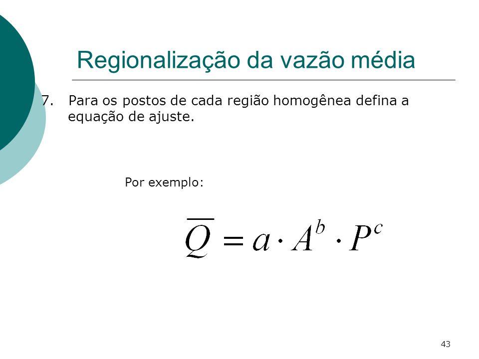 43 Regionalização da vazão média 7. Para os postos de cada região homogênea defina a equação de ajuste. Por exemplo: