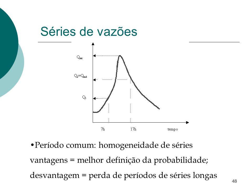 48 Período comum: homogeneidade de séries vantagens = melhor definição da probabilidade; desvantagem = perda de períodos de séries longas Séries de vazões
