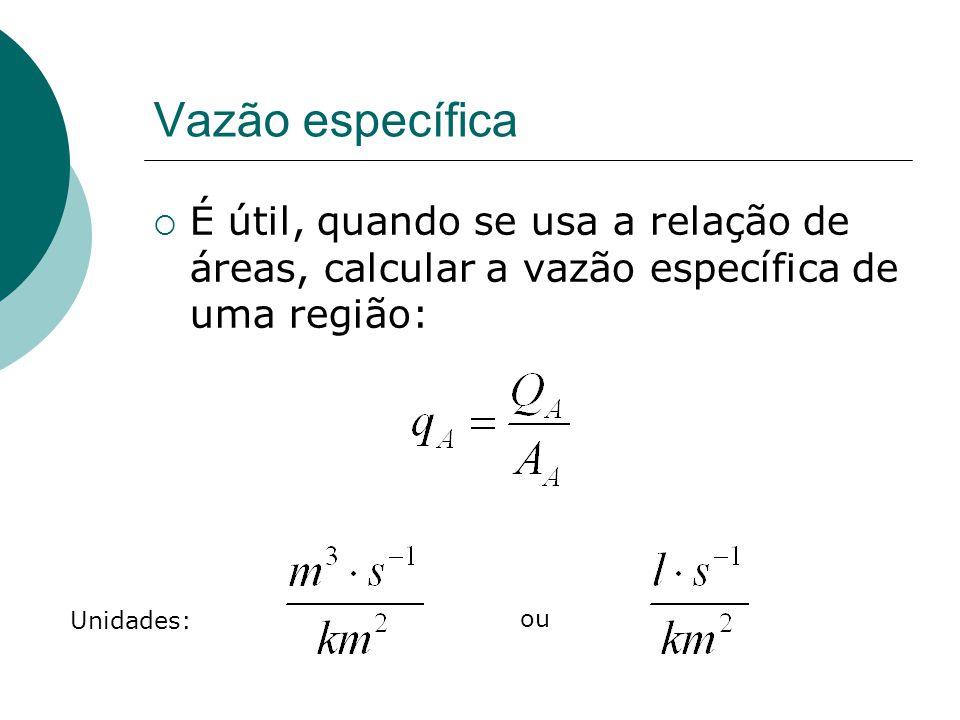 Vazão específica É útil, quando se usa a relação de áreas, calcular a vazão específica de uma região: Unidades: ou
