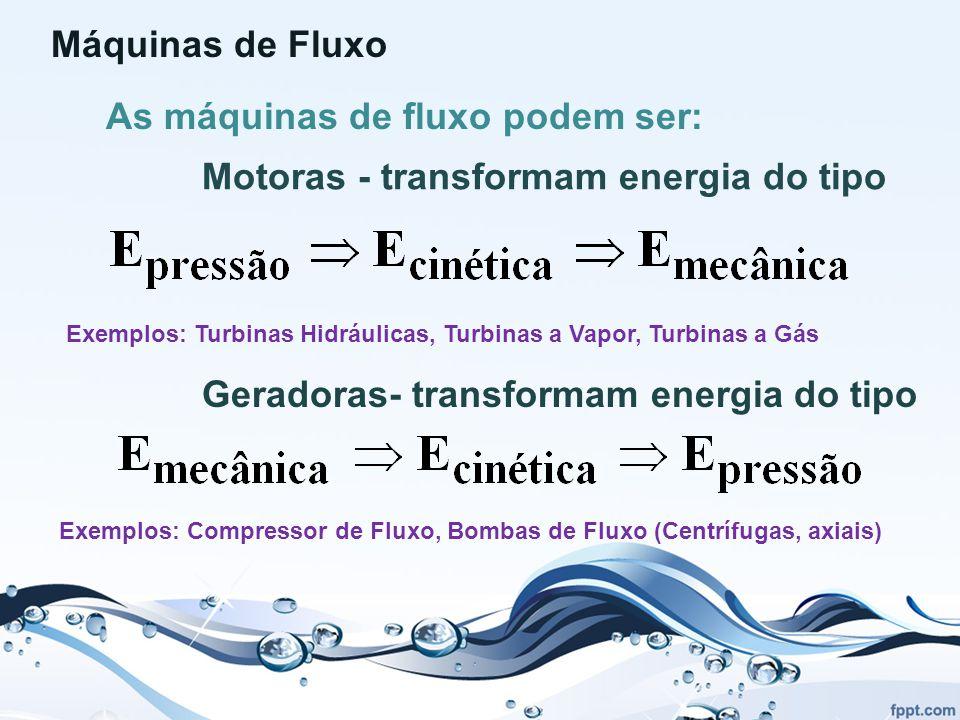 Máquinas de Fluxo As máquinas de fluxo podem ser: Motoras - transformam energia do tipo Exemplos: Turbinas Hidráulicas, Turbinas a Vapor, Turbinas a Gás Geradoras- transformam energia do tipo Exemplos: Compressor de Fluxo, Bombas de Fluxo (Centrífugas, axiais)