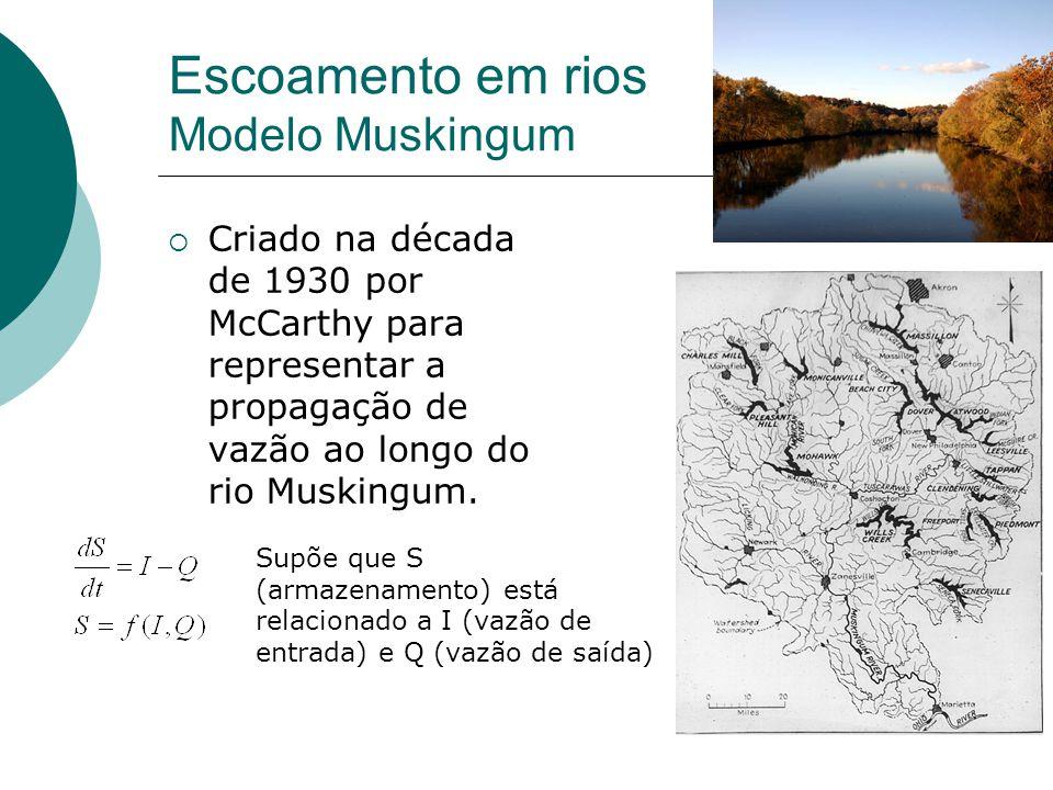 Escoamento em rios Modelo Muskingum Criado na década de 1930 por McCarthy para representar a propagação de vazão ao longo do rio Muskingum. Supõe que