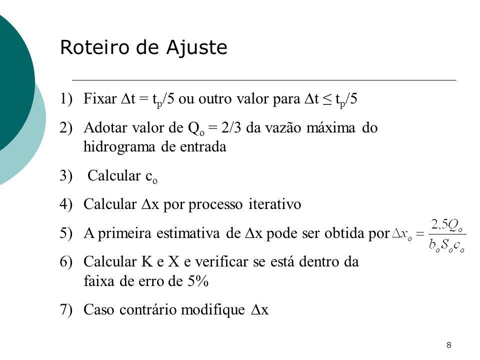 8 Roteiro de Ajuste 1)Fixar t = t p /5 ou outro valor para t t p /5 2)Adotar valor de Q o = 2/3 da vazão máxima do hidrograma de entrada 3) Calcular c