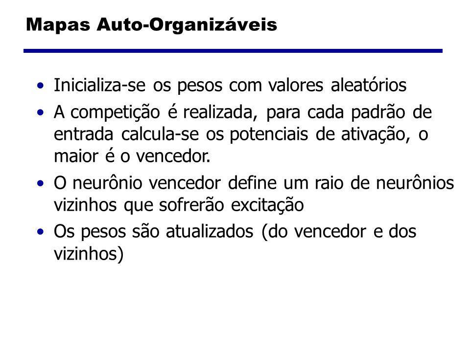 Mapas Auto-Organizáveis Inicializa-se os pesos com valores aleatórios A competição é realizada, para cada padrão de entrada calcula-se os potenciais de ativação, o maior é o vencedor.