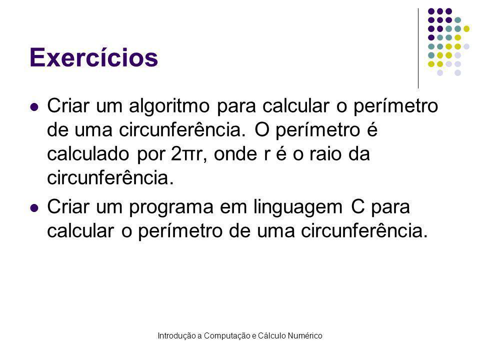 Introdução a Computação e Cálculo Numérico Exercícios Criar um algoritmo para calcular o perímetro de uma circunferência. O perímetro é calculado por