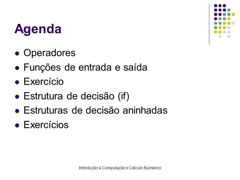 Introdução a Computação e Cálculo Numérico Agenda Operadores Funções de entrada e saída Exercício Estrutura de decisão (if) Estruturas de decisão anin