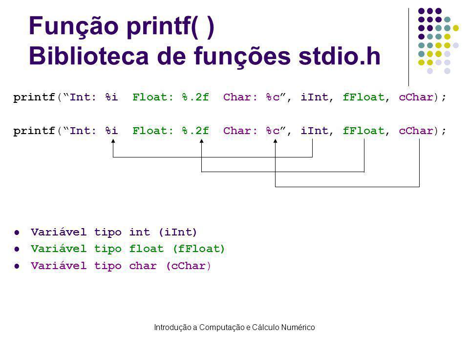 Introdução a Computação e Cálculo Numérico Função printf( ) Biblioteca de funções stdio.h printf(Int: %i Float: %.2f Char: %c, iInt, fFloat, cChar); V
