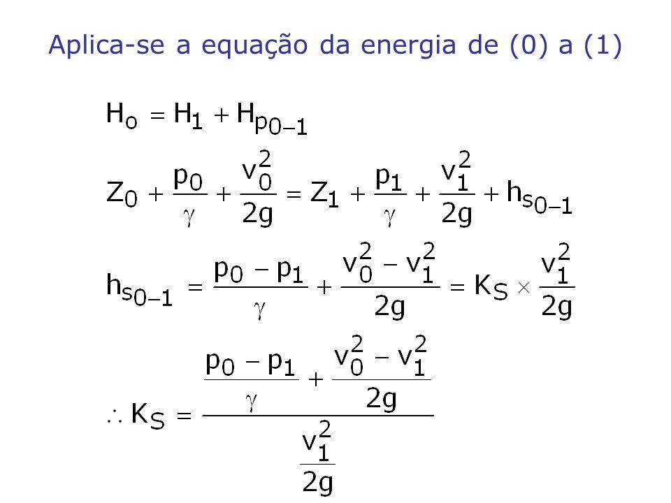 Aplica-se a equação da energia de (0) a (1)
