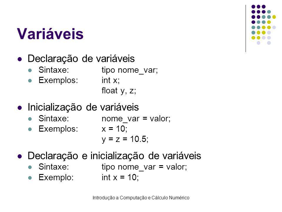Introdução a Computação e Cálculo Numérico Variáveis Declaração de variáveis Sintaxe:tipo nome_var; Exemplos:int x; float y, z; Inicialização de variáveis Sintaxe:nome_var = valor; Exemplos:x = 10; y = z = 10.5; Declaração e inicialização de variáveis Sintaxe:tipo nome_var = valor; Exemplo:int x = 10;