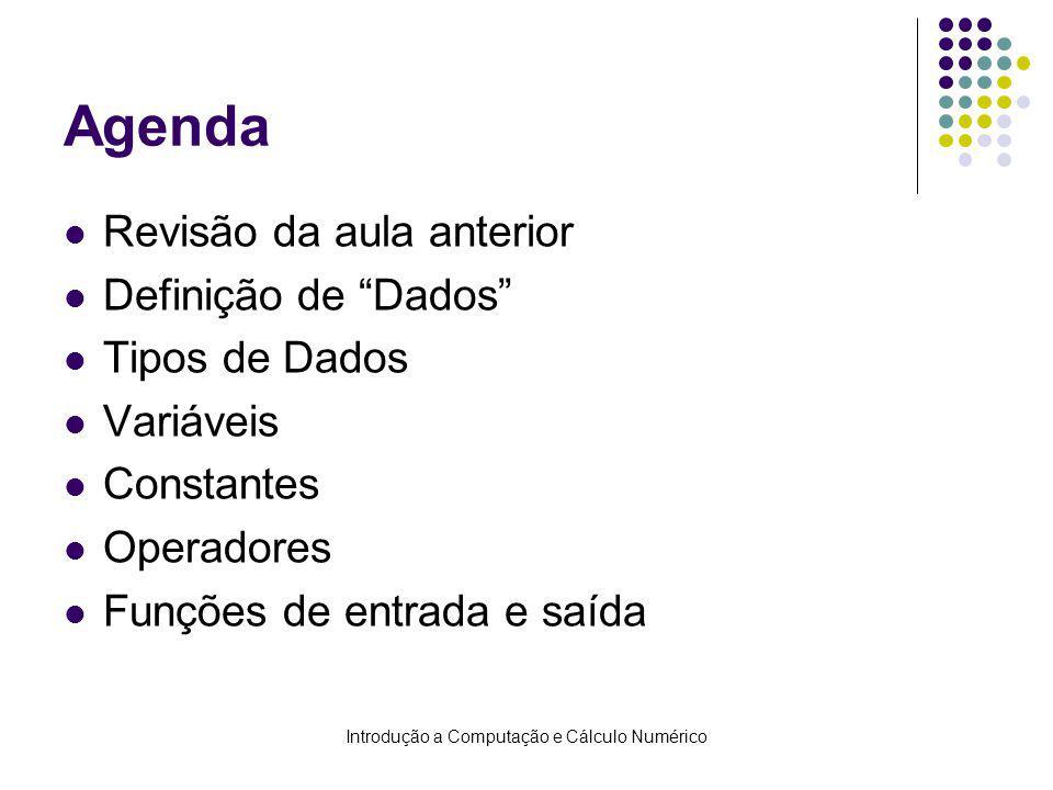 Introdução a Computação e Cálculo Numérico Agenda Revisão da aula anterior Definição de Dados Tipos de Dados Variáveis Constantes Operadores Funções d